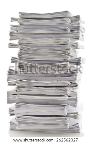 Layered stack of papers - stock photo