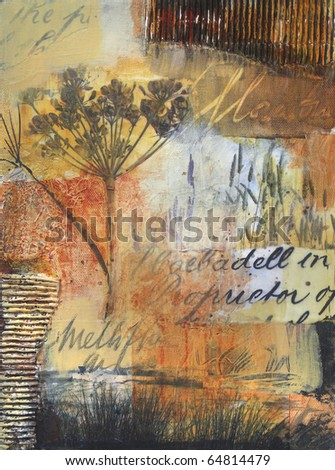 Layered transparent acrylic painting with collage photos of  reeds along a riverbank,and fennel seed head. - stock photo