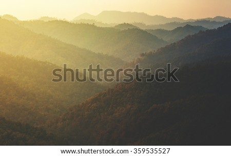 layers of mountain vintage tone - stock photo