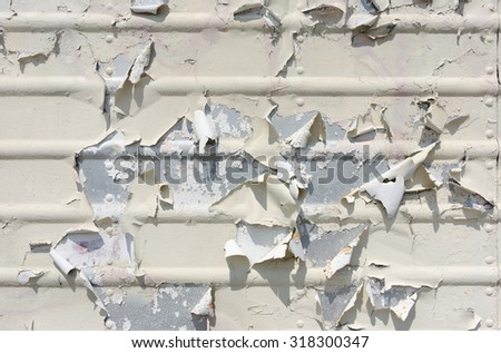 Layers of paint peeling off of corrugated sheet metal in the sun. - stock photo