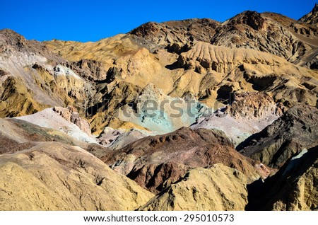 Layers of Painted Hills at Death Valley - stock photo