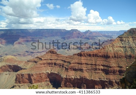 Layers of Rock in the Grand Canyon - stock photo