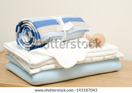 Layette for newborn baby boy - stock photo
