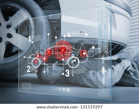 Laying mechanic consulting futuristic interface in black and white - stock photo
