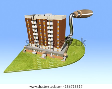 layout of an apartment house on trowel textured green leaf - stock photo