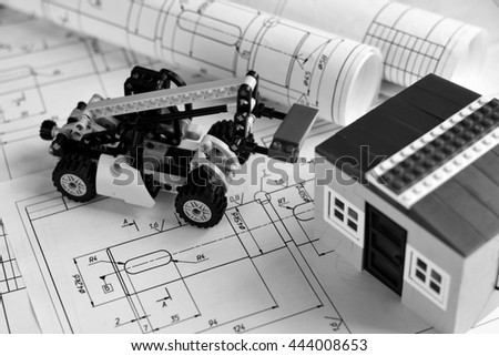 layout of the house in the background drawings. Construction concept. - stock photo