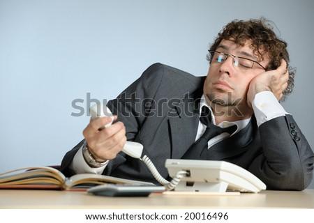 Lazy businessman - stock photo
