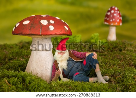 Lazy garden gnome sitting under a toadstool - stock photo