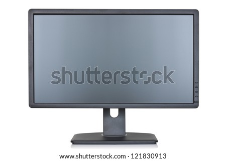 Lcd flat monitor, isolated on a white background - stock photo