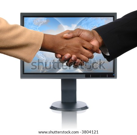 LCD monitor with global handshake concept isolated over a white background - stock photo
