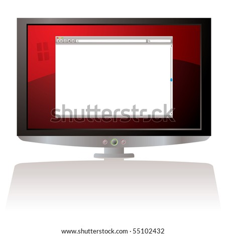 LCD Monitor with red background and web browser - stock photo