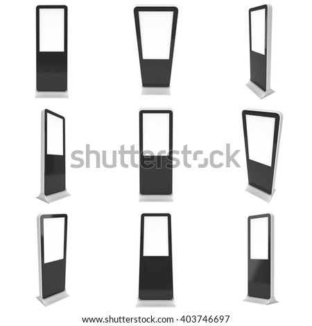 LCD Screen Floor Stand Set. Blank Trade Show Booth Collection. 3d render of lcd screen isolated on white background. High Resolution Floor Stand. Ad template for your expo design. - stock photo