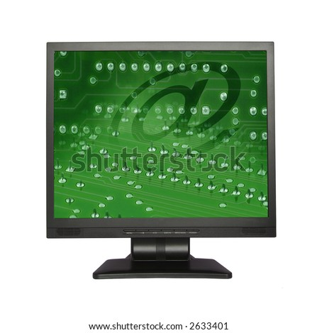 LCD screen with electronic wallpaper - DESIGN INSIDE IS MY PROPERTY - stock photo