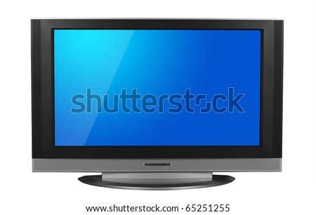 LCD television isolated in white background. Clipping path included for the screen and television. - stock photo