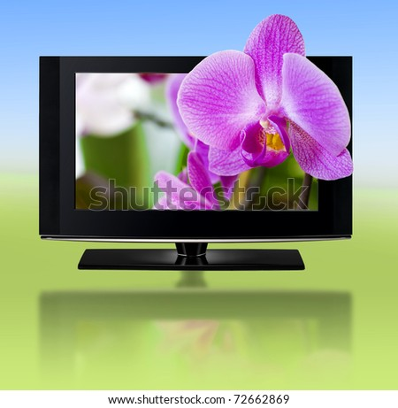 LCD TV panels. Television 3D production technology concept. - stock photo