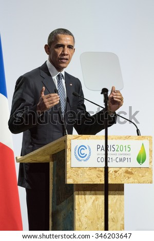 LE BOURGET near PARIS, FRANCE - NOVEMBER 30, 2015 : Barack Obama, President of United State of America delivering his speech at the Paris COP21, United nations conference on climate change. - stock photo