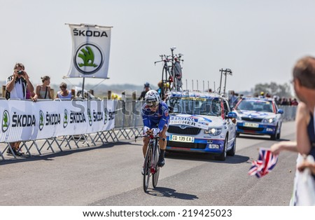 LE MONT SAINT MICHEL,FRANCE-JUL 10:The Brazilian cyclist Murilo Antonio Fischer from FDJ cycling during the stage 11 of Le Tour de France 2013, a time trial between Avranches and Mont Saint Michel - stock photo