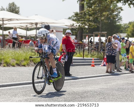LE MONT SAINT MICHEL,FRANCE-JUL 10:The cyclist Johannes Fr���¶hlinger from Argos-Shimano Team cycling during the stage 11 of Le Tour de France 2013, a time trial between Avranches and Mont Saint Michel - stock photo