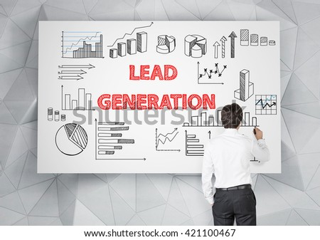 Lead generation concept with businessman drawing business sketches on whiteboard - stock photo