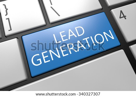 Lead Generation - keyboard 3d render illustration with word on blue key - stock photo