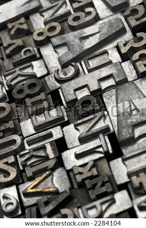 lead letters typeset - stock photo