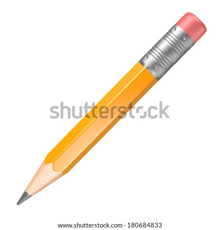 Lead pencil on a white background - stock photo