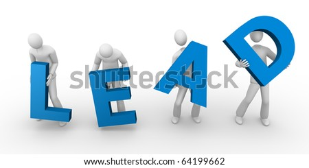 Lead text holding by men - stock photo