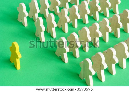 Leader addressing a group of people - stock photo