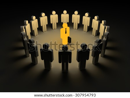 Leader and team , This is a computer generated and 3d rendered image. - stock photo