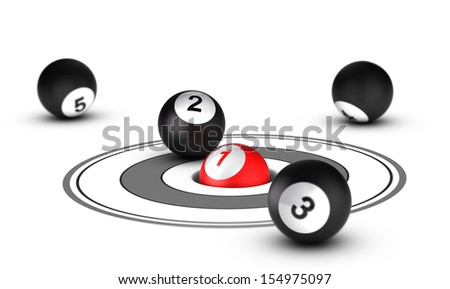 Leader concept, best positioning. One red ball with the number 1 inside a hole with other balls around it. Conceptual 3D render image - stock photo