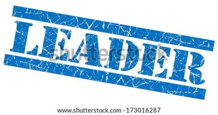Leader grunge blue stamp - stock photo