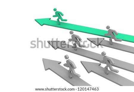 Leader of competition. Concept. 3d illustration. - stock photo
