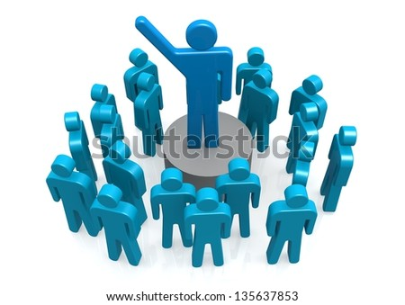 Leader on the stage - stock photo