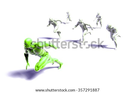 Leader Running Ahead of the Competition in 3d - stock photo