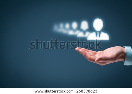 Leader stand out from the crowd (concept). - stock photo