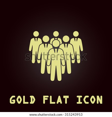 Leader standing in front of corporate crowd. Gold flat icon. Symbol for web and mobile applications for use as logo, pictogram, infographic element - stock photo