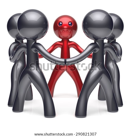 Leader teamwork circle stylized people social network human resources individuality leadership character friendship team five cartoon friends unity meeting icon concept red black. 3d render isolated - stock photo