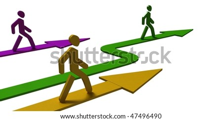 leader, walking men, arrow - stock photo