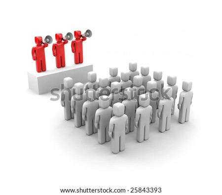 Leaders speaks and crowd - stock photo