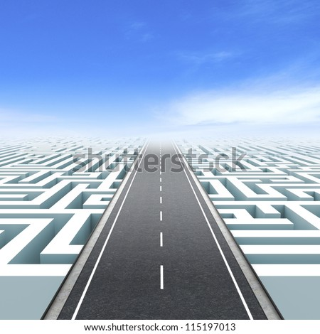 Leadership and business vision with strategy in corporate challenges. Labyrinth - stock photo