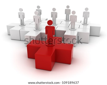 Leadership and different concept, one red 3d plus jigsaw puzzle piece in front of white plus jigsaws on white background - stock photo
