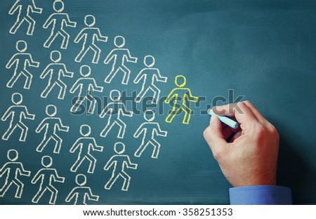leadership concept male hand drawing group of people and leader - stock photo