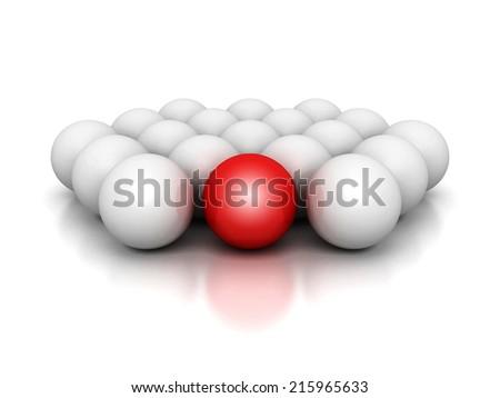leadership concept red leader sphere of white crowd. 3d render illustration - stock photo