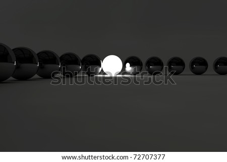 Leadership concept with balls and a lighting ball - stock photo