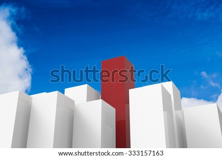 leadership concept with 3d rendered red and white buildings on blue sky background - stock photo