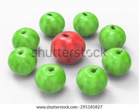 leadership concept with 3d rendering red apple surrounded by green apples - stock photo