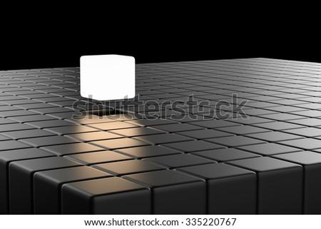 leadership concept with 3d rendering shiny cubic - stock photo