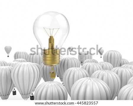 leadership concept with 3d rendering shiny light bulb above hot air balloons - stock photo