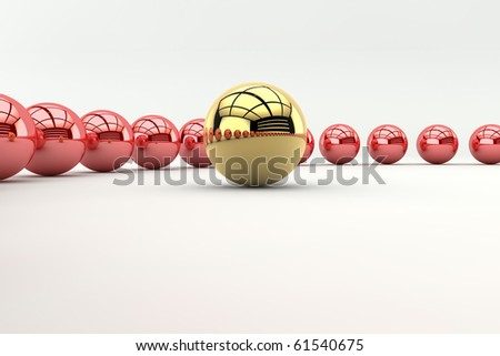 Leadership concept with golden sphere and many red spheres - stock photo