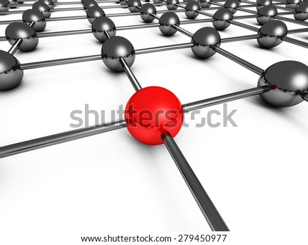 Leadership Concept With Red Sphere And Many Chrome Spheres. 3d Render Illustration - stock photo